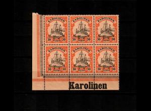 Karolinen: MiNr. 12, vom Eckrand mit Inschrift, postfrisch, **