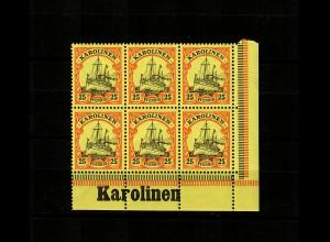 Karolinen: MiNr. 11, vom Eckrand, 6er Block mit Inschrift, postfrisch, **