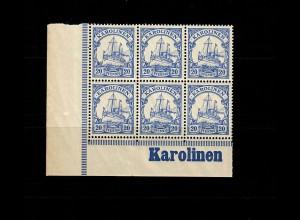 Karolinen: MiNr. 10, vom Eckrand, 6er Block mit Inschrift, postfrisch, **