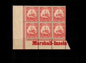 Marschall-Inseln: MiNr. 15, 6er Block mit Inschrift links Eckrand, postfrisch **