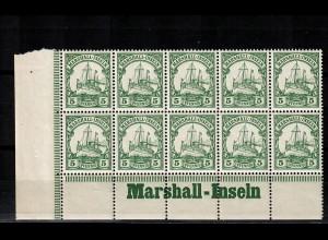 Marschall-Inseln: MiNr. 14, 10er Block mit Inschrift Eckrand, postfrisch **