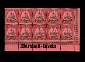 Marschall-Inseln: MiNr. 21, 10er Block mit Inschrift Eckrand, postfrisch **