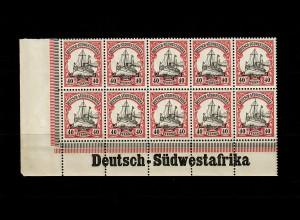 DSWA: MiNr. 17, 10er Block, Inschrift Eckrand, postfrisch **