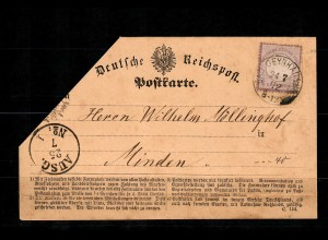 DR: MiNr. 1 auf Postkarte Oeynhausen nach Minden, 1872, Einzelfrankatur