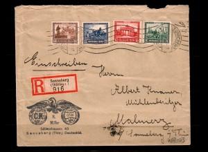 DR: MiNr. 450-453 Einschreiben Sonneberg nach Malmery/Koppelsdorf