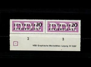 DDR Dienst MiNr. 7 X II, Unterrand Druckvermerk, postfrisch, **