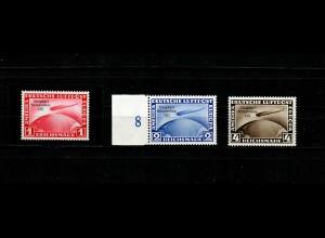 DR: MiNr. 496-498, Chicagofahrt 1933, postfrisch, BPP Signatur