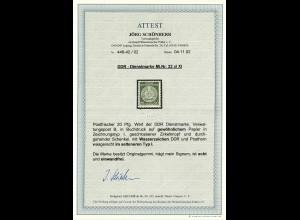 DDR Dienstmarke MiNr. 22 xl XI, Typ I, postfrisch, **, BPP Attest