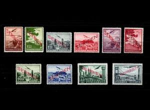 Serbien: Flugpostmarken MiNr. 16-25, postfrisch, **