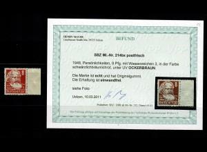 SBZ: MiNr. 214 bx Ockerbraun, postfrisch, **