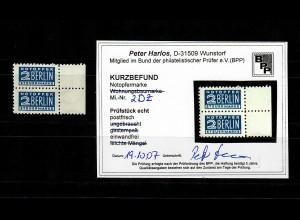 Notopfermarke MiNr. 2 DZ, postfrisch, **, BPP Attest