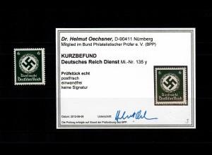 DR: Dienst MiNr. 135 y, postfrisch, **, BPP Befund