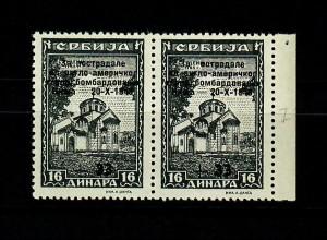 Serbien MiNr. 107 I, postfrisch, ** waagr. Paar mit Plattenfehler, BPP Befund