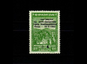 Serbien MiNr. 101 II, postfrisch, ** Aufdruck-Abart, BPP Befund