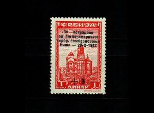 Serbien MiNr. 100 I, postfrisch, ** Aufdruck-Abart, BPP Befund