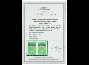 Serbien MiNr. 101 III, postfrisch, ** Aufdruck-Abart, BPP Attest