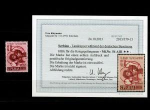 Serbien MiNr. 54 AIII, postfrisch,** BPP Befund