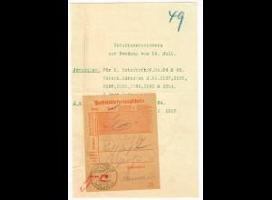 1917 Jerusalem Feldpost MIL MISS auf Einlieferungsscheinf für R-Brief, Botschaft