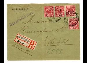 1889/94: 10 Pfg Krone/Adler 4x als Mitläufer, R-Brief Constantinopel-Elberfeld