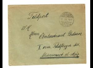 1917: Feldpost MIL MISS vom Ortslazarett Mardin an Militäradresse Feldflieger