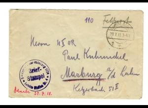 1918 FP-Brief von der Auto Station 4, Leichte Funkerstation, mit 3 Sternen. Gaza