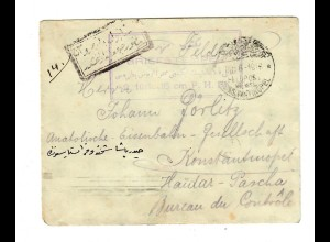 1916: Konstantinopel FP MIL MISS an Bruder in Haidar Pascha, türkische Zensur