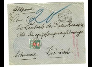 1917 Konstantinopel FP MIL MISS, Soldatenheim Haidar-Pascha n ach Zürich an RK