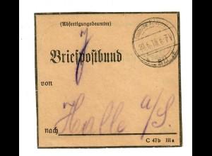 1918: Deutsche Feldpost 511 auf Briefpostbund nach Halle/Saale, interessant