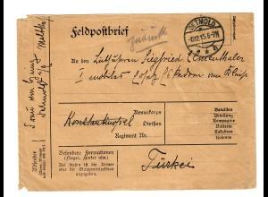 1915: FP Brief Detmold nach Konstantinopel, Deutche Militär Mission Feldpost