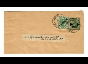 1905/08: Streifband Jerusalem an Diakonissenhospital Cairo, siehe Beschreibung