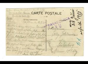 1915: Lager Sidi-Sliman, Ansichtkarte Internierter nach Jüterbog, Zensur