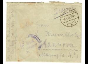 18.4.1918: FP-Brief von Nazareth mit Inhalt über FP-Amt 663 nach Hannover