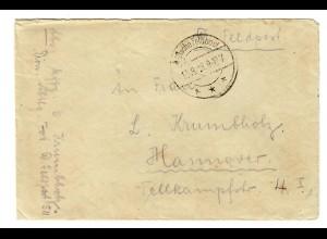 18.8.1918 FP-Brief vom Toten Meer mit Inhalt über FP-Amt 372 I Damaskus-Hannover