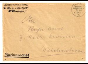 1915: KDMSP No 69, Marinesache, Kassenverwaltung Breslau, Kommando Wilhelmshaven