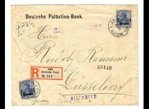 1910: Deutsche Palästina Bank als R-Brief Jaffa über Neapel nach Düsseldorf