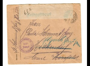 1916: Constantinopel, FP-Brief mit Inhalt, Sonderkommando 500, Marine Postbüro