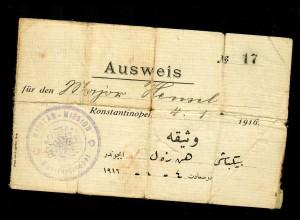 1916 Konstantinopel: Ausweis der Militärmission für Major, Feldpost Direktor