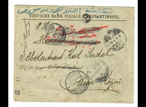 1916 FP MIL MISS Konstantinopel, Deutsche Bank über Kriegsminist. in Usuri-Köprü