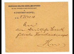 1916 Dienstbrief Militärbevollmächtigter in der Botschaft Konstantinopel