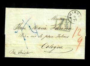 Levante: 1857: Smirne mit Taxierungsvermerken nach Köln, Tarif ab 16.10.1851