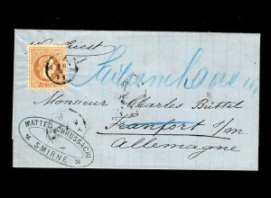 Levante: 1871 Smirne über Triest nach Frankfurt, ohne Registraturfaltung, schön