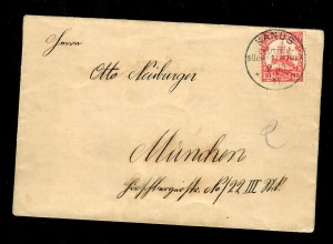DSWA 1911 Schiffszeichnung auf Brief von Kanus nach München, Zierprägung rücks.