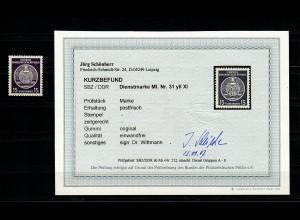 DDR Dienst: MiNr. 31 yII XI, postfrisch, BPP Befund