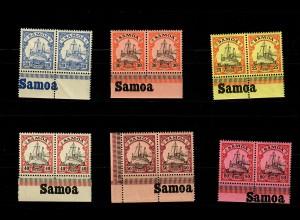 Samoa: MiNr. 10-15, Eck-/Unterrand mit Inschrift, postfrisch, **