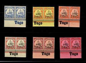 Togo: MiNr. 10-15, Unterrand mit Inschrift, postfrisch, **