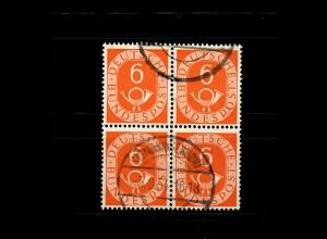 Bund: Posthorn MiNr. 126, Viererblock, gestempelt 1954