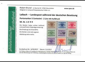 Laibach: MiNr. 1-9, postfrisch, **