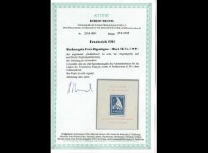 Frankreich 1941: MiNr. Block I, postfrisch, **