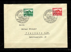 DR: MiNr. 673/674, Saarbrücken, Eröffnung Gautheater, FDC 1938
