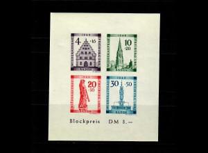Baden 1949: MiNr. Block, 1 B VI, postfrisch, **